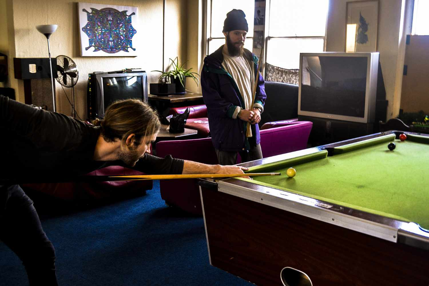 game room with billiard table